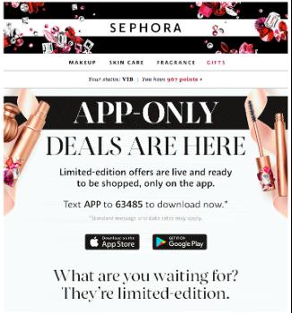 Sephora email example